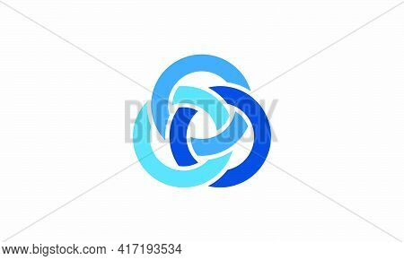 Blue Circle Knot Interlock Vector Isolated On White Background. Creative Icon.