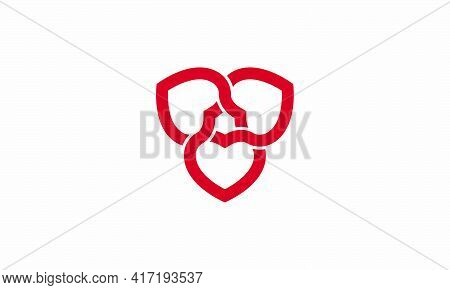 Red Heart Knot Interlock Vector Isolated On White Background. Creative Icon.