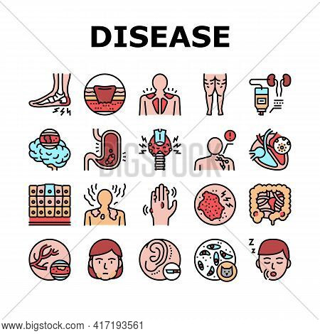 Disease Human Problem Collection Icons Set Vector. Epithelial Tissue And Toxoplasmosis, Ear Surgery