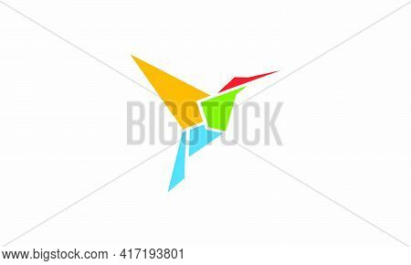 Beautiful Colorful Hummingbird Origami Logo Design Concept.