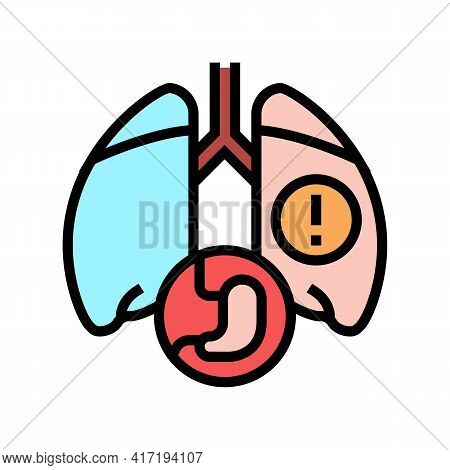 Lung Or Breathing Problems Color Icon Vector. Lung Or Breathing Problems Sign. Isolated Symbol Illus