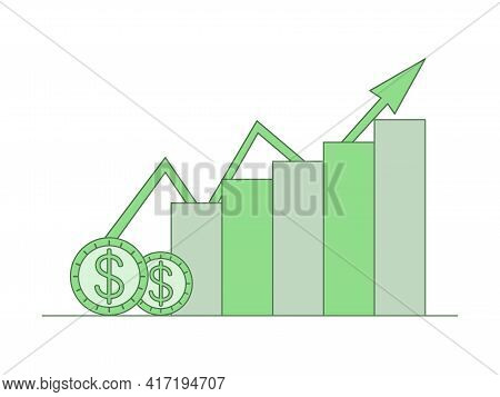 Online Trading Application Icon Design. Abstract Rising Financial Chart, Stock Market Vector Outline