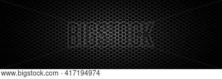 Metal Mesh Wide. Black Steel Texture. Futuristic Carbon Design With Light. Sheet Metal Effect. Perfo