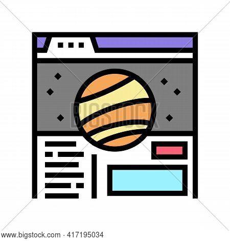 Web Site Planetarium Color Icon Vector. Web Site Planetarium Sign. Isolated Symbol Illustration