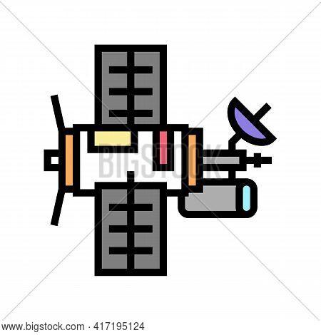 Satellite Equipment Color Icon Vector. Satellite Equipment Sign. Isolated Symbol Illustration
