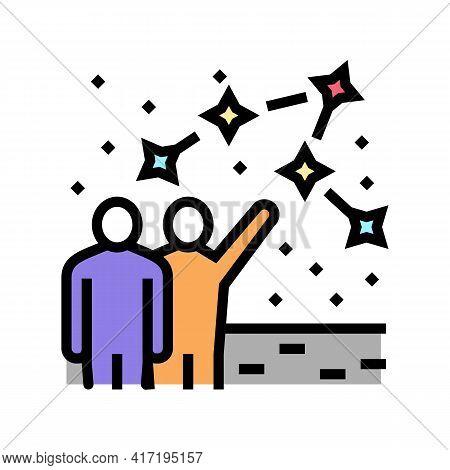 People Talk About Constellation Planetarium Color Icon Vector. People Talk About Constellation Plane