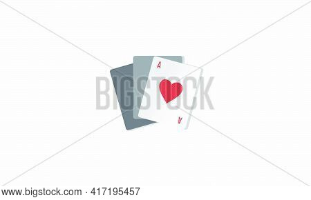 Game Card Icon. Ace Hearts Playing Cards Vector Illustration.