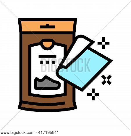 Napkin Package For Shoe Care Color Icon Vector. Napkin Package For Shoe Care Sign. Isolated Symbol I