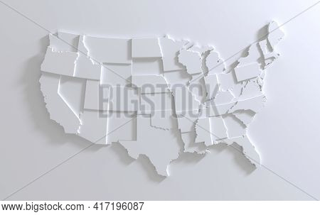 United States Of America Map On White Background. Tiered 3d Render Of Empty Usa Territory. Country P