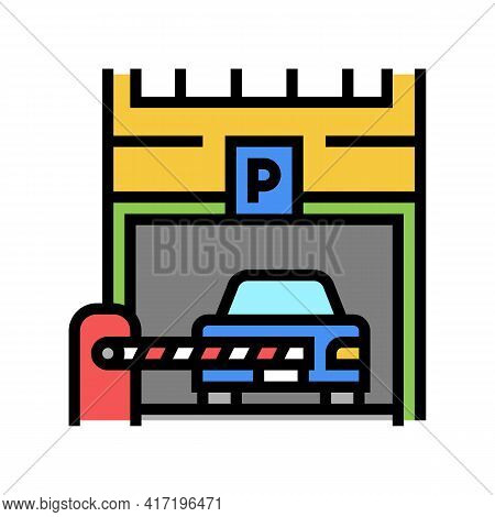 Barrier Of Parking Color Icon Vector. Barrier Of Parking Sign. Isolated Symbol Illustration