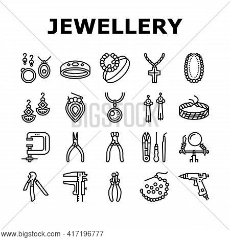 Handmade Jewellery Collection Icons Set Vector. Baubles And Chains, Bijouterie And Bracelets, Rings