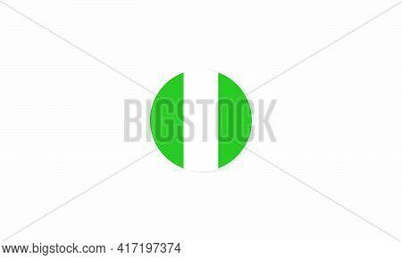 Nigeria Circle Flag Graphic Design Vector  Illustration.