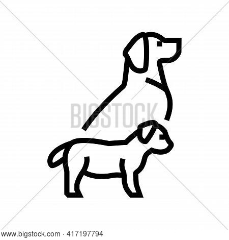 Puppy And Dog Line Icon Vector. Puppy And Dog Sign. Isolated Contour Symbol Black Illustration