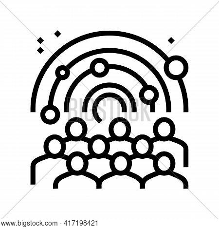 Visiters Watching On Galaxy Planets In Planetarium Line Icon Vector. Visiters Watching On Galaxy Pla