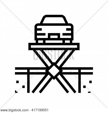 Lift Equipment Parking Line Icon Vector. Lift Equipment Parking Sign. Isolated Contour Symbol Black