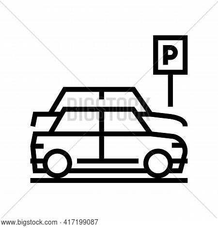 Street Parking Line Icon Vector. Street Parking Sign. Isolated Contour Symbol Black Illustration