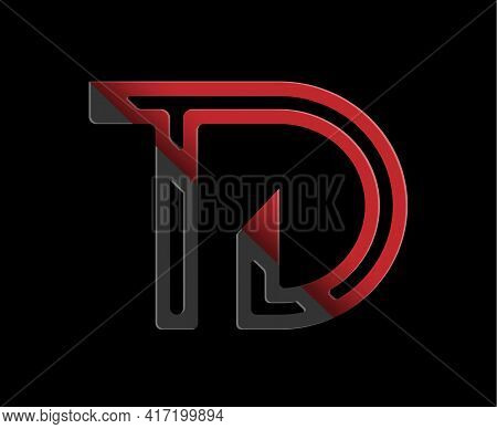 Stylized Lowercase Letters T And D In Red And Black Connected By A Single Line For Logo, Monogram An