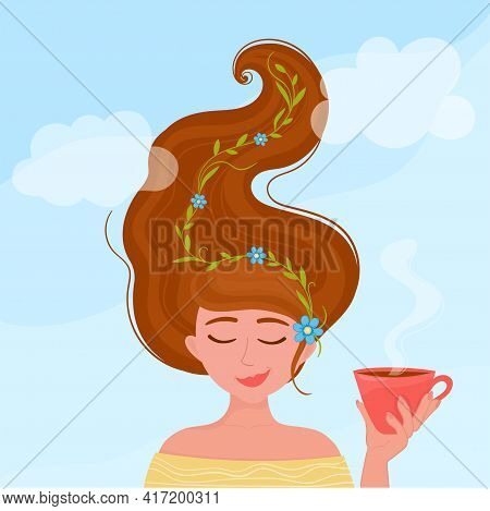 Vector Illustration Girl With Cup Of Tea. Time For Relax, Break, Rest.