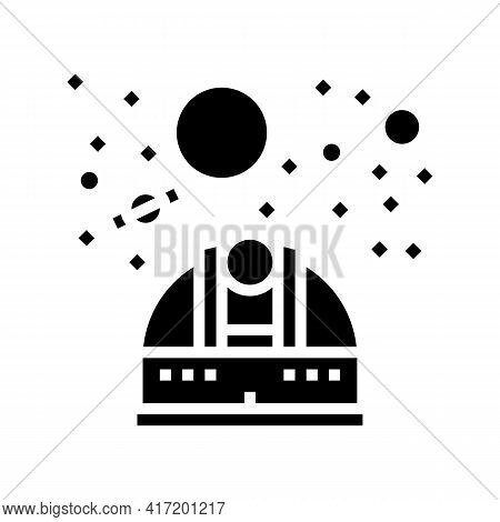 Observatory Telescope Watching On Planets Line Icon Vector. Observatory Telescope Watching On Planet