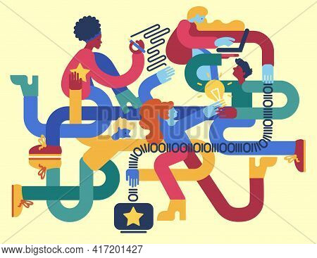 Intertwined Creative Team Working Together. Flat Vector Illustration.