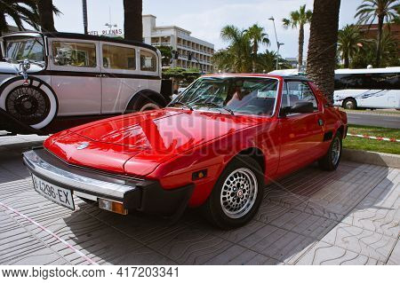 Salou, Spain - July 2013: Red Retro Fiat Car Stands On Display In Salou.