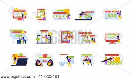 Computer Repair Recolor Set With Help Desk Symbols Flat Isolated Vector Illustration