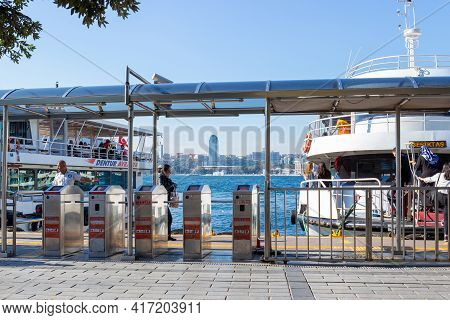 Istanbul, Turkey - October 10, 2019: Uskudar Ferry Station At The Bosphorus Strait. Ferries Go To Th