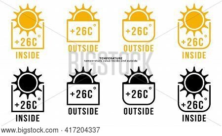 Conceptual Symbols - Temperature Value Inside And Outside. Inside And Outside Sun Icon With Temperat