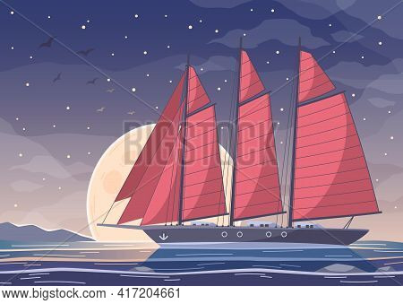 Yachting Cartoon Composition Of Big Boat With Red Sails Crossing Bay Water On Night Sky Background V