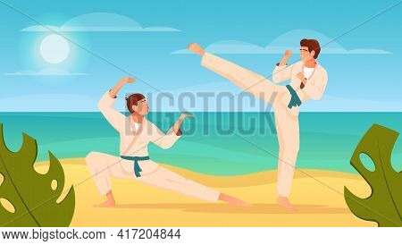 Martial Arts Flat Composition With Two Fighters In Kimono Training Karate Fight Outdoors Vector Illu