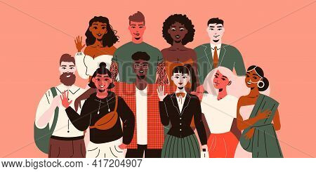 Nationality People Composition With Doodle Style Characters Of Young People Of Various Ethnicity Mak