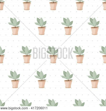 Vector Seamless Pattern. Home Plants, Ficuses In Pots. Background Decoration.