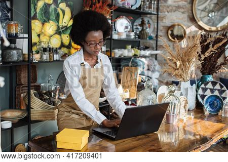 Competent Saleswoman In Beige Apron Using Wireless Laptop While Working At Shop With Various Decor.