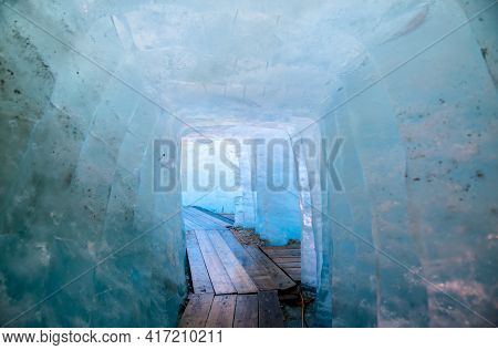 Ice Cave Inside The Rhone Glacier At The Furka Pass In The Swiss Alps