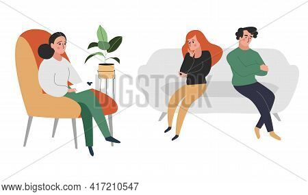 Vector Flat Style Modern Illustration Family Therapy