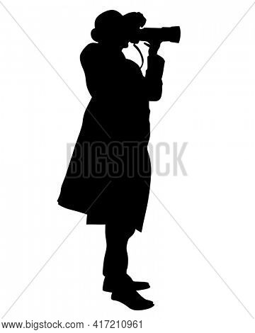 Photograph and women with a camera on street. Isolated silhouettes of people on white background
