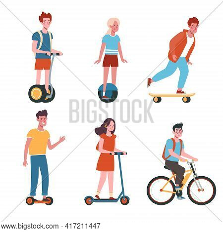 Flat Vector Collection With Kids On Electric Transport. Children Ride Bicycles, Skateboards, Scooter