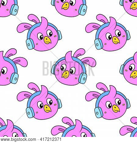 Chick Enjoy Music Headphone Seamless Pattern Textile Print. Great For Summer Vintage Fabric, Scrapbo