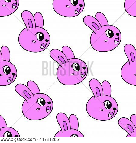 Pink Shocked Bunny Seamless Pattern Textile Print. Great For Summer Vintage Fabric, Scrapbooking, Wa