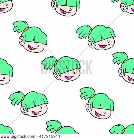 Smile Girl Pony Seamless Pattern Textile Print. Great For Summer Vintage Fabric, Scrapbooking, Wallp