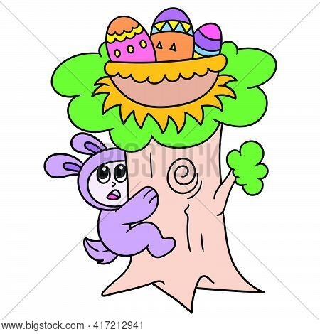 The Easter Bunny Is Climbing A Big Tree To Pick Up The Eggs On It, Vector Illustration Art. Doodle I