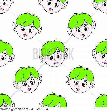 Green Hair Boy Seamless Pattern Textile Print. Great For Summer Vintage Fabric, Scrapbooking, Wallpa