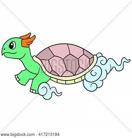 Turtle God Another Ruler Flew Above The Clouds, Vector Illustration Art. Doodle Icon Image Kawaii.