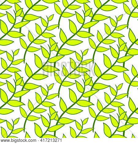 Spring Season Leaves Seamless Pattern Textile Print. Great For Summer Vintage Fabric, Scrapbooking,