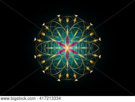Flower Of Life Symbol Sacred Geometry. Gold Luxury Logo Icon Geometric Mystic Mandala Of Alchemy Eso