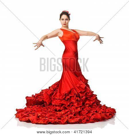 Portrait Of  Beautiful Young Woman Dancing Flamenco