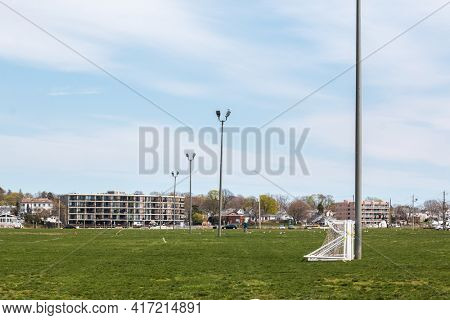 NORWALK, CT,USA  - APRIL 14, 2021:  View from Veterans Park in spring day