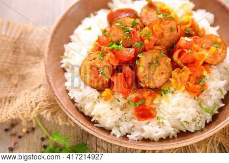 creole dish- rougail saucisse and rice