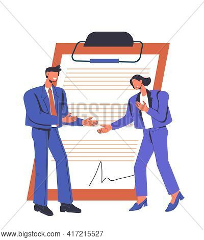 Business Negotiation And Contract Signing Concept With Tiny Business People In Front Of Contract Pag