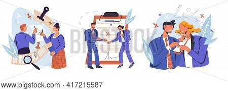 Set Scenes With Business Partners Signing Paper Or Digital Contract Document, Flat Vector Illustrati